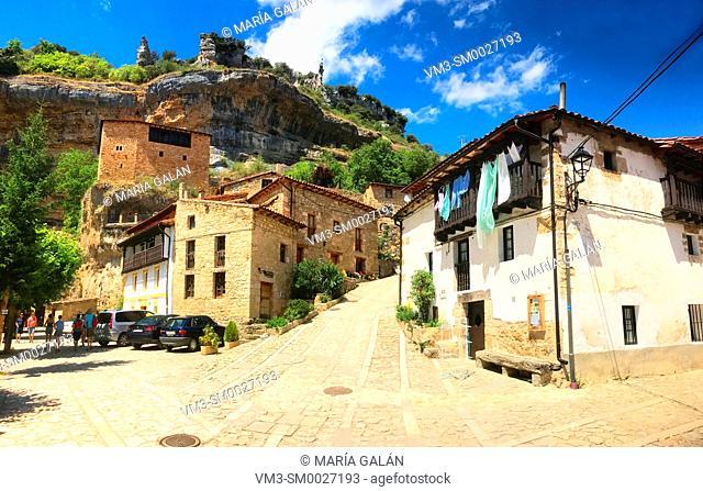 View of the village, panoramic image. Orbaneja del Castillo, Burgos province, Castilla Leon, Spain