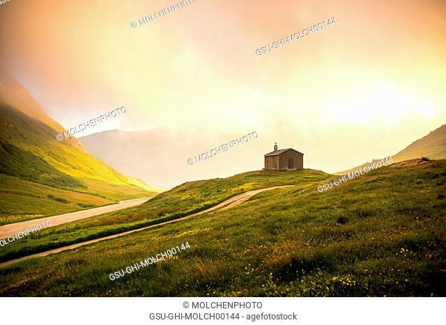 Rural Mountain Church at Sunrise