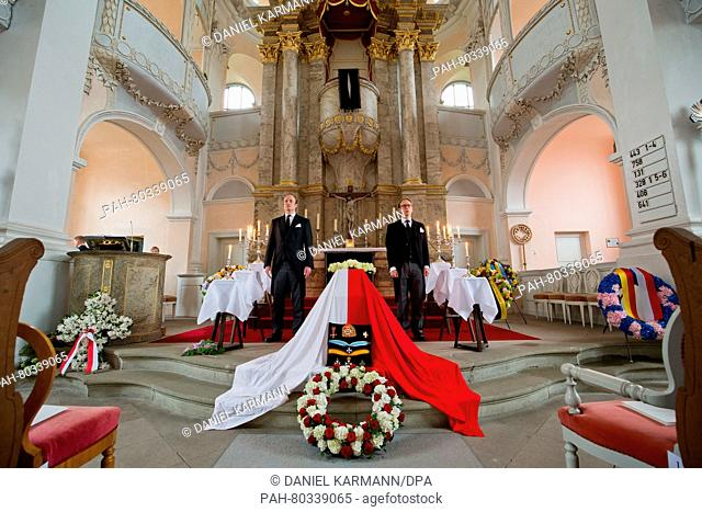 The coffin of Prince Albrecht zu Castell-Castell seen during his memorial at St. Johannes church in Castell, Germany, 13 May 2016