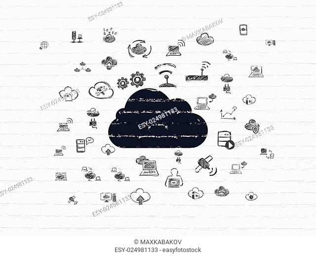 Cloud technology concept: Painted black Cloud icon on White Brick wall background with Hand Drawn Cloud Technology Icons, 3d render