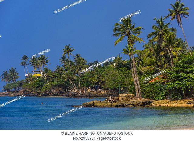 Coastline of the south coast of Sri Lanka at Ahangama, Southern Province