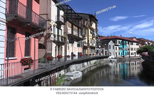 The town of Omegna at the northernmost point of Lake Orta, Piedmont, Italy