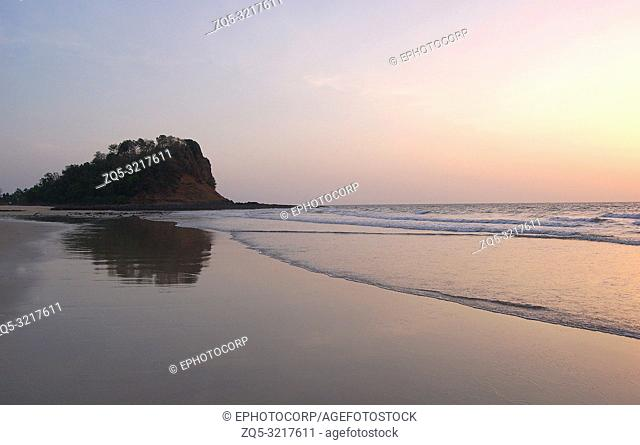 Kashid beach located 30 km from Alibaug famous for its beautiful clear blue water, white color sand and lovely streams, Maharashtra, India