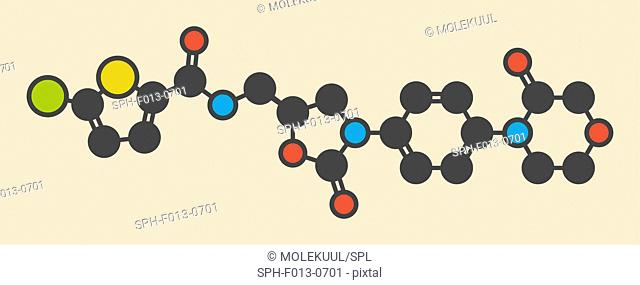 Rivaroxaban anticoagulant drug (direct factor Xa inhibitor) molecule. Stylized skeletal formula (chemical structure). Atoms are shown as color-coded circles:...