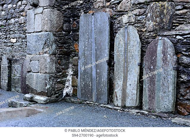 Tombstones in the monastery of Glendalough, Wicklow county, Ireland