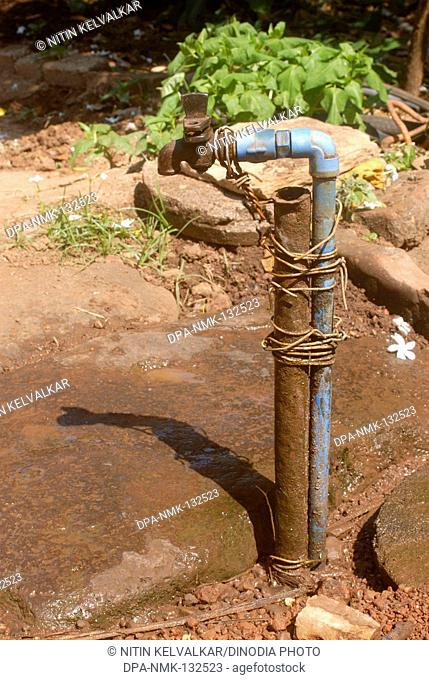 Cast iron tap in poor condition at village Harihareshwar ; District Raigad ; Konkan region ; Maharashtra ; India