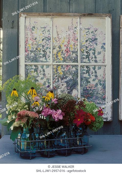 FLOWER ARRANGEMENTS: Painted shabby window frame, wire carrier filled with mason jars of wildflowers, sedum, brown eyed susans, cosmos, hydrangea, cottage style