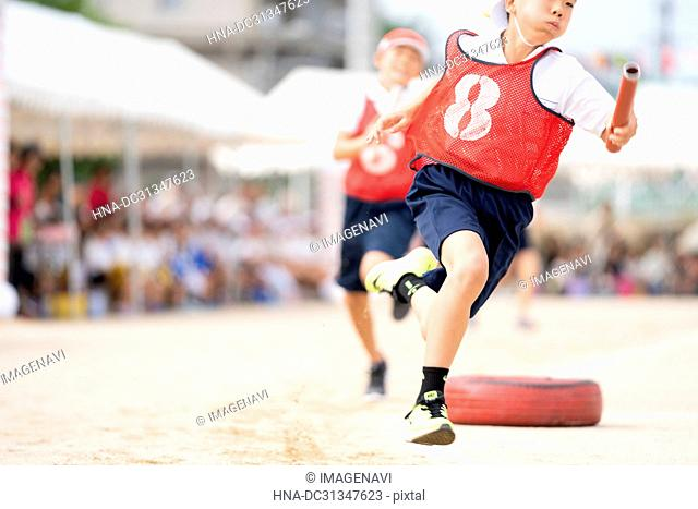 Elementary School Student in School Sports day