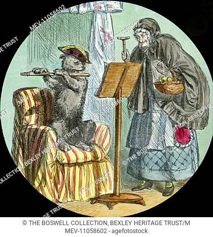 He was playing the fiddle - Dog on Chair playing flute. Part of Box 52 Boswell collection. Nursery Rhymes