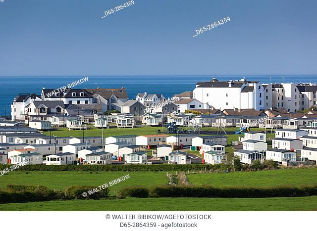 UK, Northern Ireland, County Antrim, Portballintrae, elevated town view