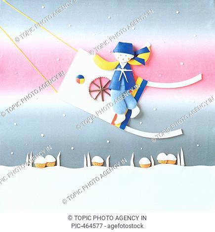 Paper Illustration, Riding Kite