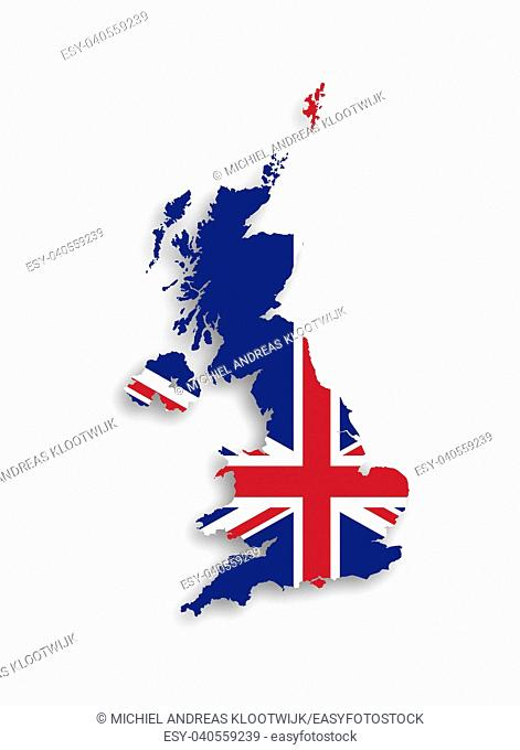 Map of the United Kingdom of Great Britain and Northern Ireland with national flag, isolated