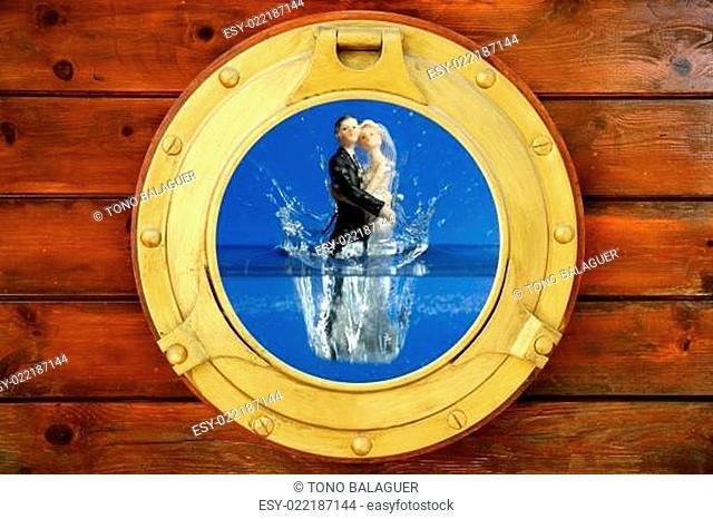 Couple sea wedding trip figure boat window view