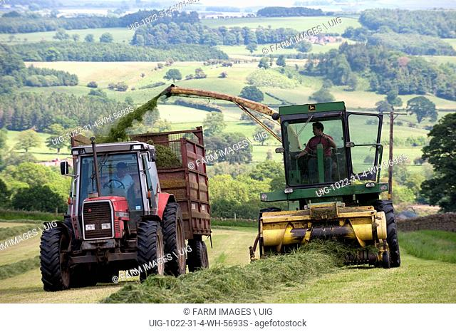 Harvesting grass to make silage for winter livestock feed. (Photo by: Wayne Hutchinson/Farm Images/UIG)