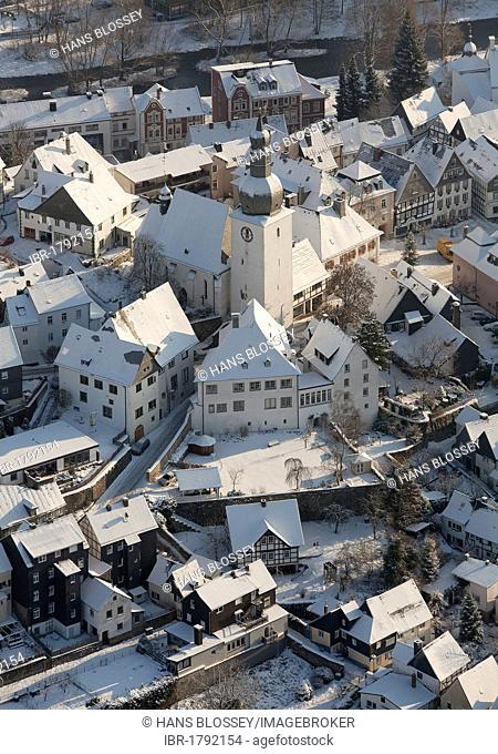 Aerial view, old town of Arnsberg, Sauerland area, North Rhine-Westphalia, Germany, Europe