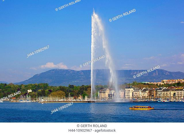 Geneva, Switzerland, Europe, canton Geneva, town, city, harbour, port, entrance, fountain, jet d'eau, Genevan, lake, Leman, boat, houses, homes