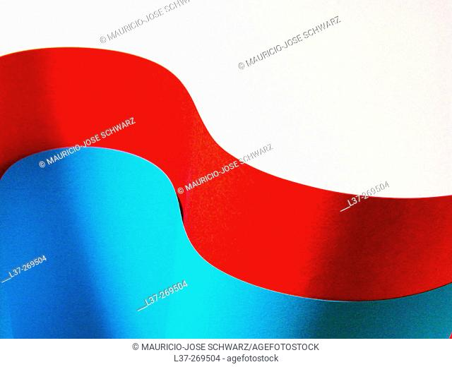 Abstract with red and blue waves on white background