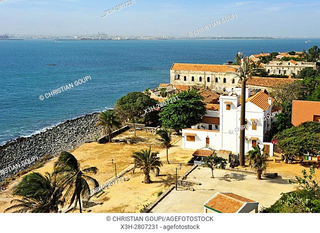 overview of the village from the Castel, Ile de Goree (Goree Island), Dakar, Senegal, West Africa