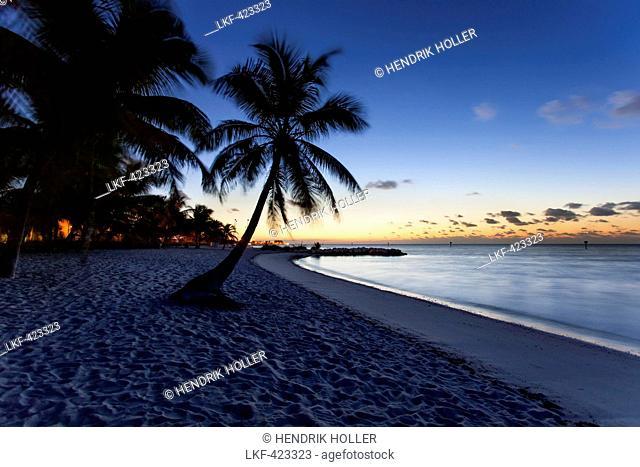 Morning impression before sunrise on Key West Smathers Beach, Key West, Florida Keys, Florida, USA