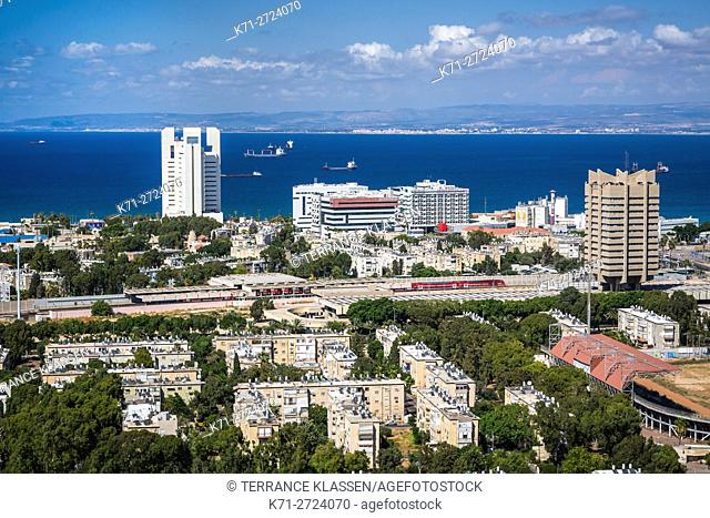 A view of the city and Mediterranean Sea in Haifa, Israel, Middle East