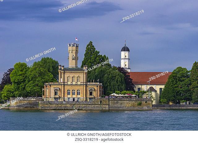 Lakeside view of Montfort Castle in Langenargen at Lake Constance, Baden-Wurttemberg, Germany