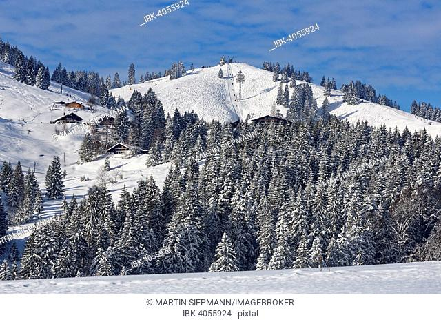 Sudelfeld ski region with Waldkopf mountain, Mangfall Mountains, Upper Bavaria, Bavaria, Germany