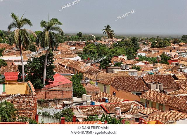 A view of the tiled rooftops in Trinidad, Cuba. Trinidad is one of the best preserved cities in the Caribbean from the time when the sugar trade was the main...