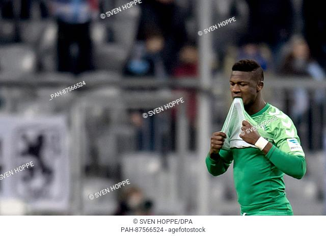 Fuerth's Stephen Sam leaves the field after being shown the yellow and red card during the 2nd Bundesliga soccer match between TSV 1860 Munich and SpVgg...