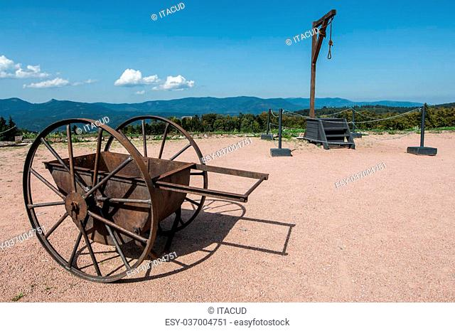 Cart and gallows in Netzweiler-Struthof concentration camp in France