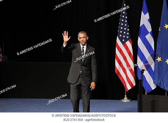 U.S. President Barack Obama delivers a speech at opera of Athens. As Obama wraps up his visit to Greece, he warns that world leaders must do more to make...
