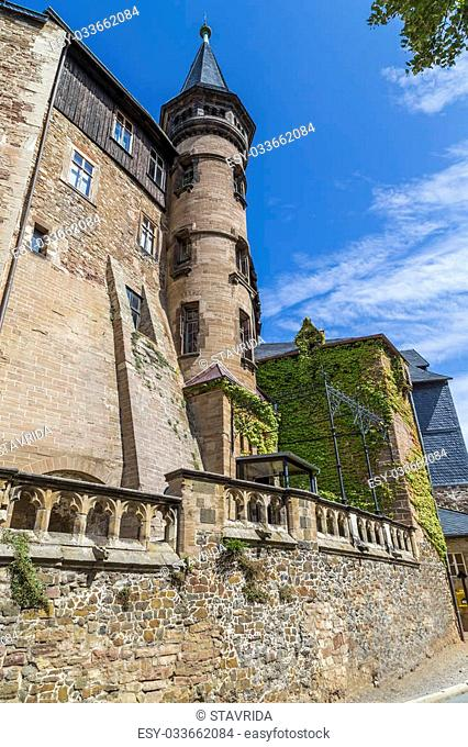 One of the towers of the castle in Wernigerode. Germany