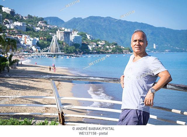 Tourist in Puerto Vallarta, Mexico. Man, 55 years old, hispanic ethnicity