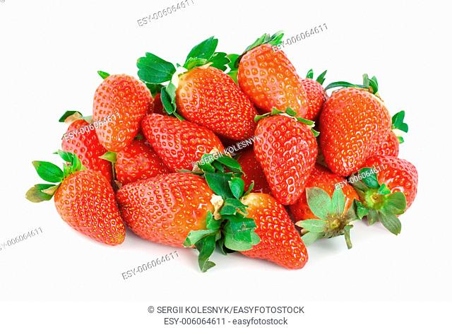 Juicy strawberries isolated on a white background