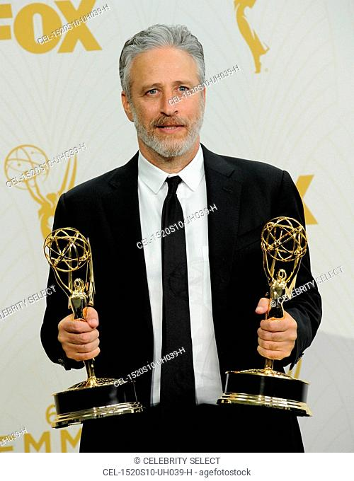 Jon Stewart, winner of Outstanding Variety Talk Series and Outstanding Writing for a Variety Series for 'The Daily Show with Jon Stewart' in the press room for...
