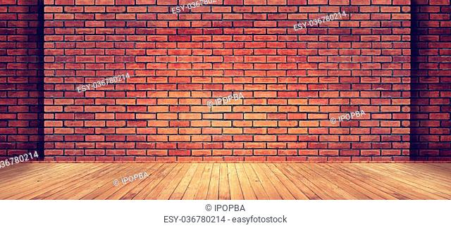 Red brick wall texture and wood floor background