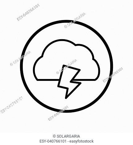 Vector of Cloud and thunder icon in Circle line, iconic symbol inside a circle, on white background, for weather sign concept. Vector Iconic Design