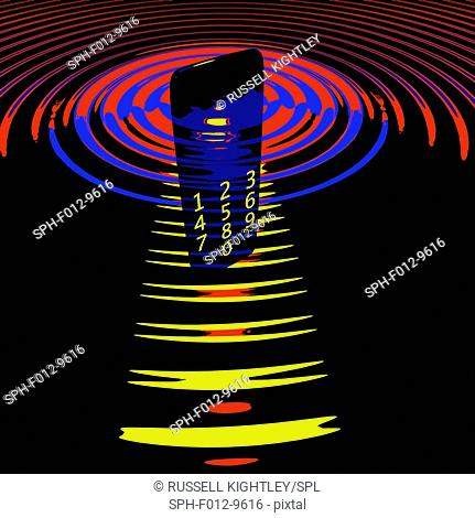 Mobile phone and transmitter waves, illustration