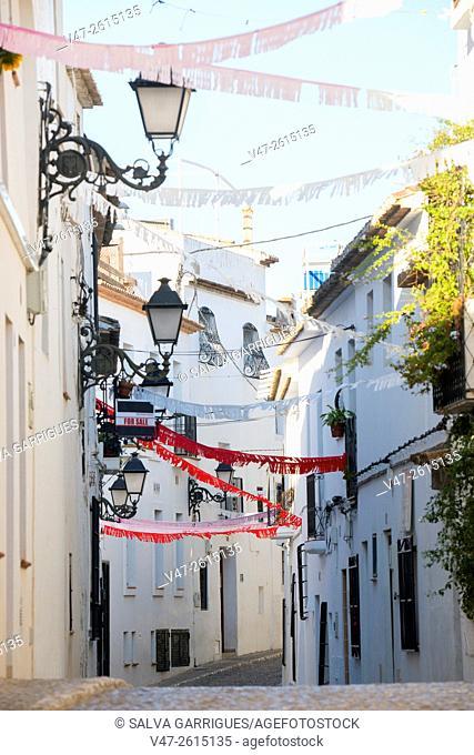 Altea street festooned with ornaments holiday, Altea, Alicante, Valencia, Spain, Europe