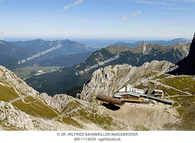 Karwendel Nature Park, information center, telescope on the summit of Mt Karwendel, near Mittenwald, Upper Bavaria, Germany, Europe