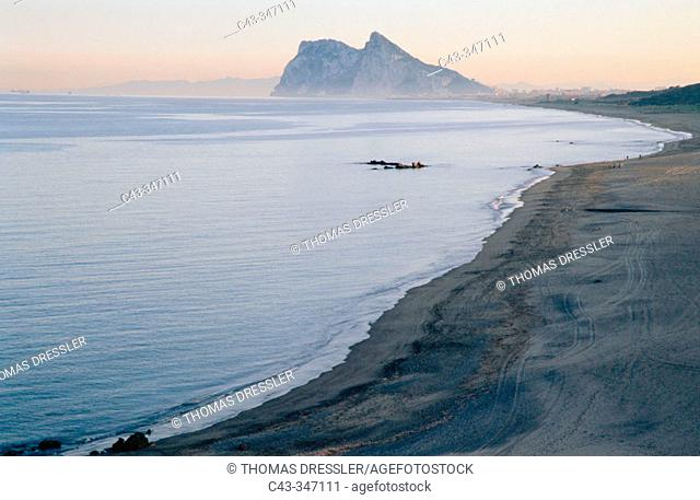 Rock of Gibraltar (UK) and town of Línea de la Concepción. Cádiz province, Andalusia, Spain