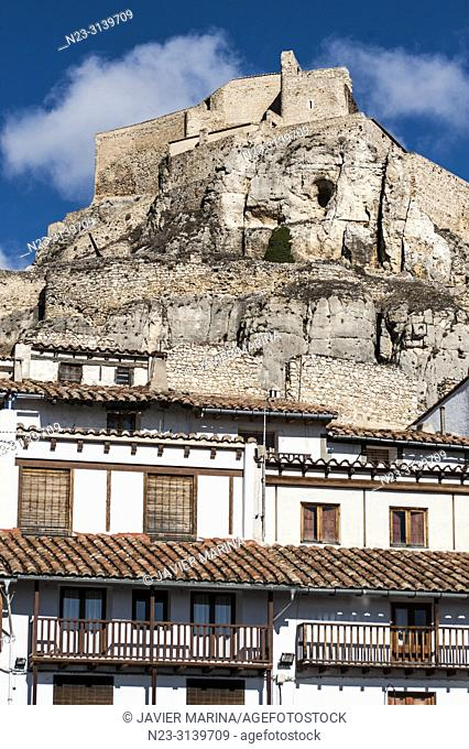 Houses and castle, Morella, Castellón Province, Spain