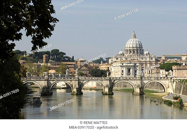 Italy, Rome, Vatican, St. Peter's Basilica, Ospedale Santo Spirito, Ponte Sant'Angelo, Tiber