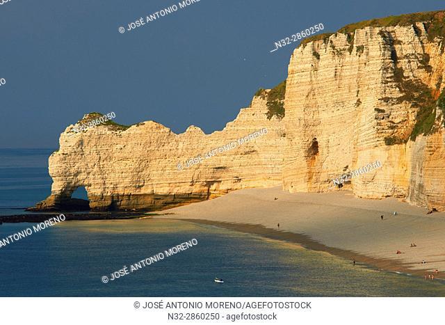 Etretat. Normandy, Porte d'Amont Cliff, Falaise Porte d'Amont, Notre Dame de la Garde Church, Seine Maritime, Upper Normandy, Haute Normandie, France