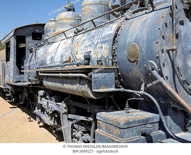 Historic oil burning Baldwin 280 locomotive, The Borax-Museum, Furnace Creek Resort, Death Valley National Park, California, USA