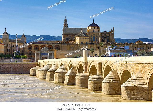 Spain, Europe, Andalucia, Region, Cordoba, Province, City, world heritage, Roman Bridge, Cordoba Mosque, Guadalquivir River, world heritage, Roman, Guadalquivir