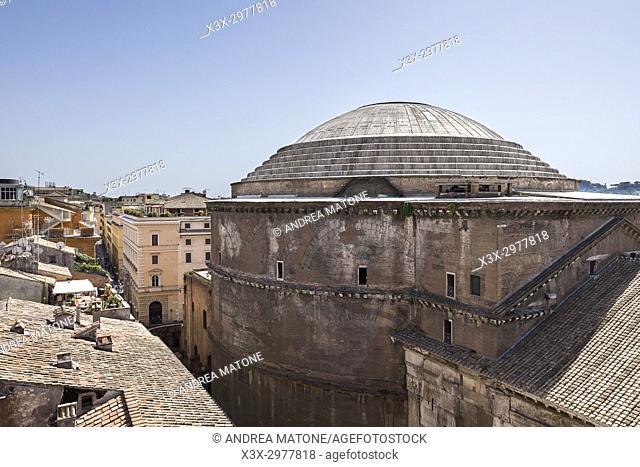 Roman pantheon outside view Rome Italy