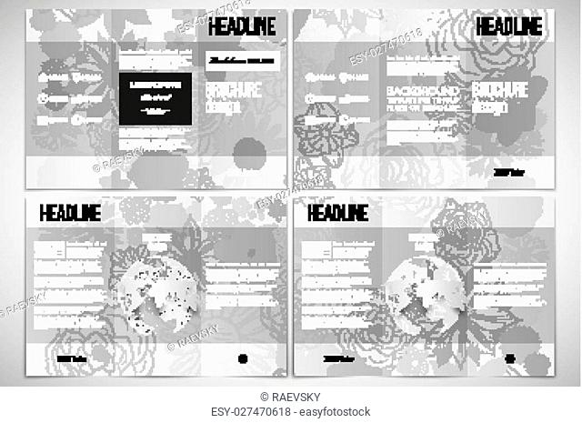 Vector set of tri-fold brochure design template on both sides with world globe element. Hand drawn floral doodle pattern, abstract vector background