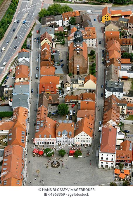Aerial view, Marienkirche church, Neuer Markt square, Waren, Mueritz county, Mecklenburg-Western Pomerania, Germany, Europe