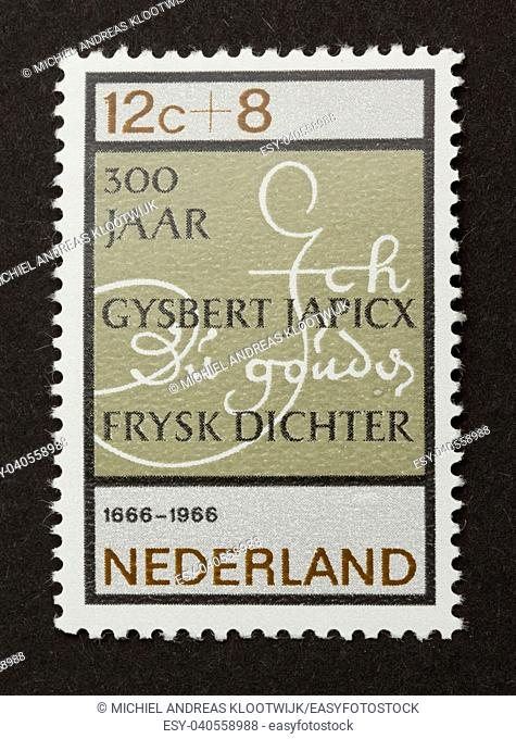 HOLLAND - CIRCA 1960: Stamp printed in the Netherlands shows the name of Gysbert Japicx, circa 1960