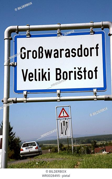 Austria, Burgenland, bilingual city sign